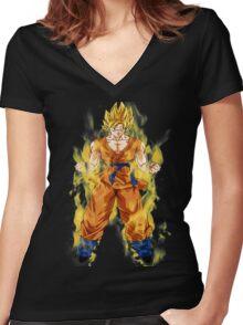 goku super saiyan aura Women's Fitted V-Neck T-Shirt