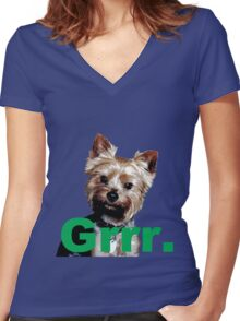 "Oni Says, ""Grrr."" Women's Fitted V-Neck T-Shirt"
