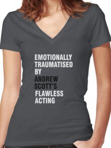 Emotionally traumatised by 03 Women's Fitted V-Neck T-Shirt