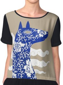 The Water Horse in Blue and White Women's Chiffon Top