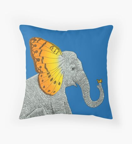 Elephant and Butterfly Throw Pillow