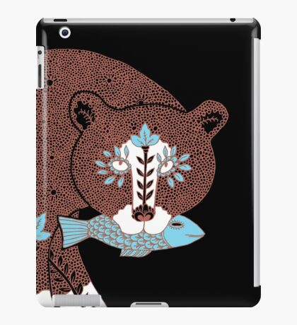 Folk Art Spirit Bear with Fish iPad Case/Skin