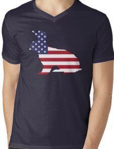 American Flag – Rabbit Mens V-Neck T-Shirt