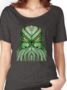 Cthulhu / Kraken Green Sea Monster Red Evil Bloodshot Eyes Women's Relaxed Fit T-Shirt