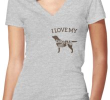 I Love My Chocolate Labrador Women's Fitted V-Neck T-Shirt