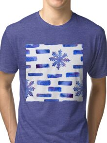 Beautiful watercolor snowflakes seamless ornament for christmas winter design Tri-blend T-Shirt