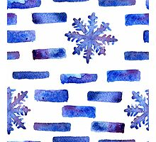 Beautiful watercolor snowflakes seamless ornament for christmas winter design Photographic Print