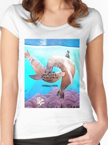 Motivational Inspirational Love Quote With Penguins Painting  Women's Fitted Scoop T-Shirt