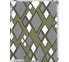 Olive green, gray white argyle pattern iPad Case/Skin
