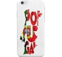 Portugal Typographic Map Flag iPhone Case/Skin