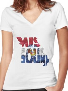 Missouri Typographic Map Flag Women's Fitted V-Neck T-Shirt