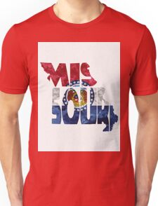 Missouri Typographic Map Flag Unisex T-Shirt