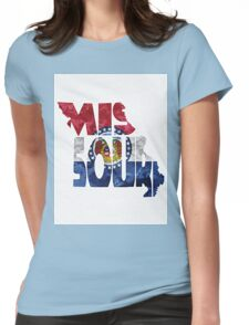 Missouri Typographic Map Flag Womens Fitted T-Shirt