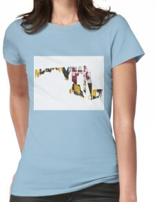 Maryland Typographic Map Flag Womens Fitted T-Shirt