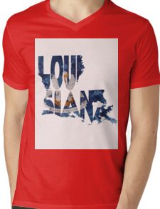 Louisiana Typographic Map Flag Mens V-Neck T-Shirt