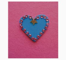 Blue Love Heart Decorated on Pink Background One Piece - Short Sleeve
