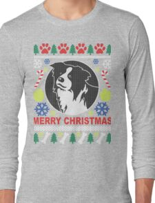 Love Border Collie Dog Breed Ugly Christmas Sweater T-Shirt Long Sleeve T-Shirt