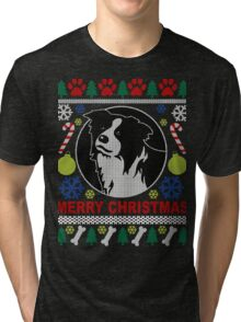 Love Border Collie Dog Breed Ugly Christmas Sweater T-Shirt Tri-blend T-Shirt
