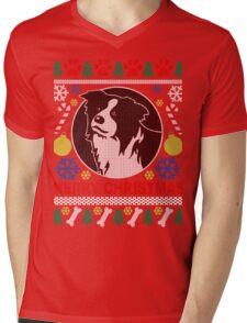 Love Border Collie Dog Breed Ugly Christmas Sweater T-Shirt Mens V-Neck T-Shirt