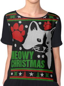 Funny Cat Lovers Gift, Meowy Ugly Christmas Sweater Tshirt Chiffon Top