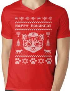 Happy Hanukcat T-Shirt, Funny Jewish Hanukkah Ugly Sweater Mens V-Neck T-Shirt