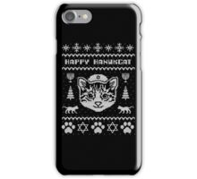 Happy Hanukcat T-Shirt, Funny Jewish Hanukkah Ugly Sweater iPhone Case/Skin