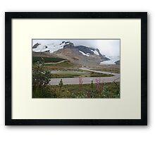 Glacier bound road at the Athabasca glacier Framed Print
