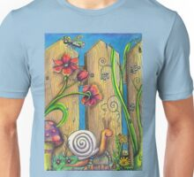 Garden Fence Whimsical drawing Unisex T-Shirt