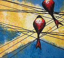 Birds on a wire by Guy Wann