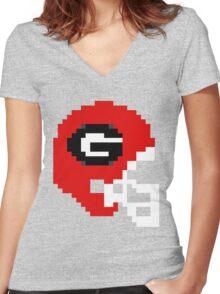 Georgia 8-bit Helmet Women's Fitted V-Neck T-Shirt