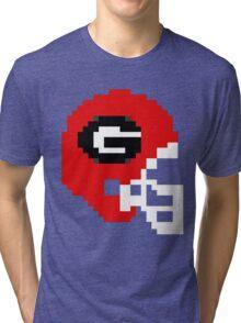 Georgia 8-bit Helmet Tri-blend T-Shirt