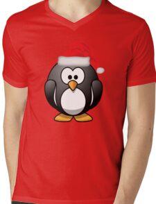 Christmas Penguin Shirt Mens V-Neck T-Shirt