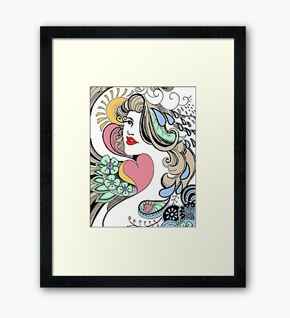 girl face to the world Framed Print