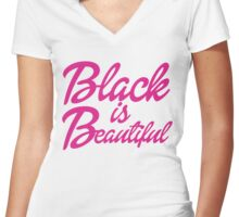 Black is Beautiful Women's Fitted V-Neck T-Shirt