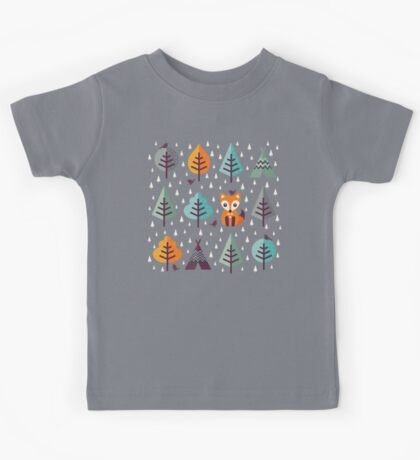 Fox in the Forest - on Gray Kids Tee