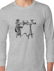 Barnes No. 3 Foot Powered Wood Turning Lathe Long Sleeve T-Shirt