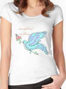 beautiful birds and flowers Women's Fitted Scoop T-Shirt