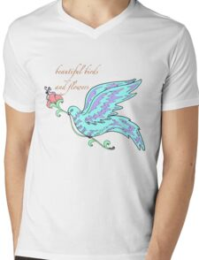 beautiful birds and flowers Mens V-Neck T-Shirt