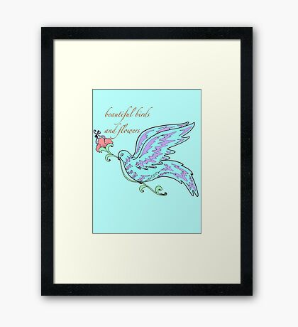 beautiful birds and flowers Framed Print