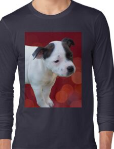 Staffordshire Bull Terrier, Black And White Puppy. Long Sleeve T-Shirt