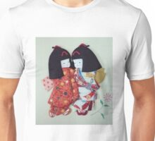 Cute Japanese paper dolls hand made from origami paper Unisex T-Shirt