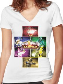 POWER RANGERS SAMURAI MORPH Women's Fitted V-Neck T-Shirt