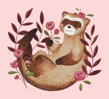 floral ferret bud Kids Tee