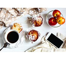 Breakfast muffins and coffee Photographic Print