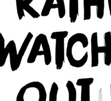 Black Brush Text (White) Sticker