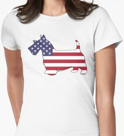 American Flag – Scottish Terrier Womens Fitted T-Shirt