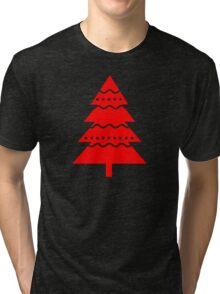 Christmas 2016 - Christmas Tree Design - Red and White Tri-blend T-Shirt