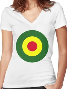 Rasta Mod Target Women's Fitted V-Neck T-Shirt
