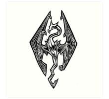 Skyrim Logo Dovah Dragon Art Print