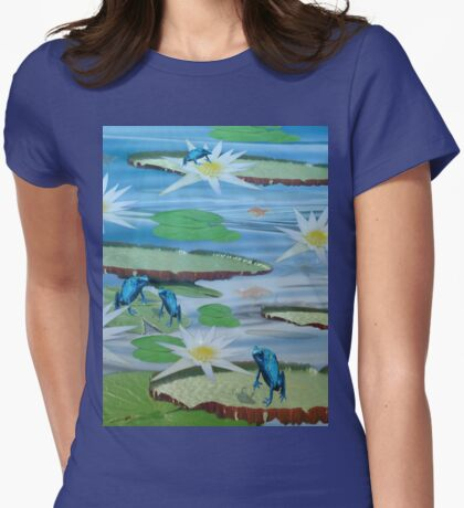 Frogs On Lilly Pads With Lotus Flowers Womens Fitted T-Shirt